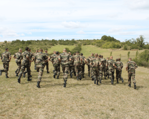 Legionnaires running at the school of the French Foreign Legion