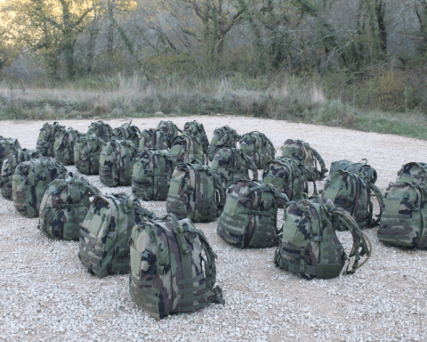French Foreign Legionnaire's bags on the ground