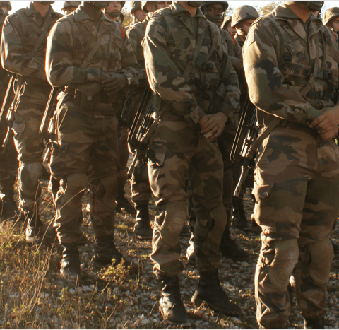 French Foreign Legionnaires standing in assembly in the sunlight